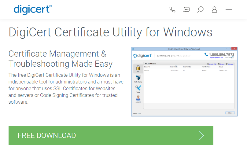 DigiCert Certificate Utility for Windows WebPage Capture